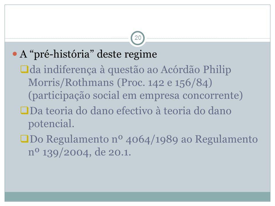 20 A pré-história deste regime da indiferença à questão ao Acórdão Philip Morris/Rothmans (Proc.
