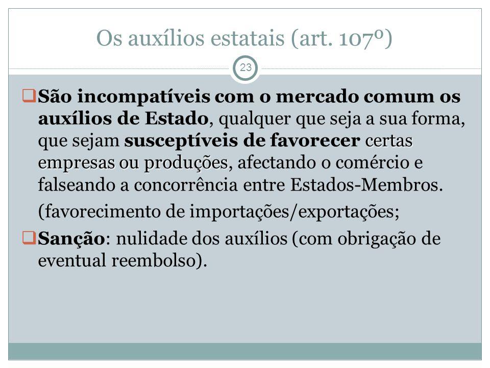 Os auxílios estatais (art.