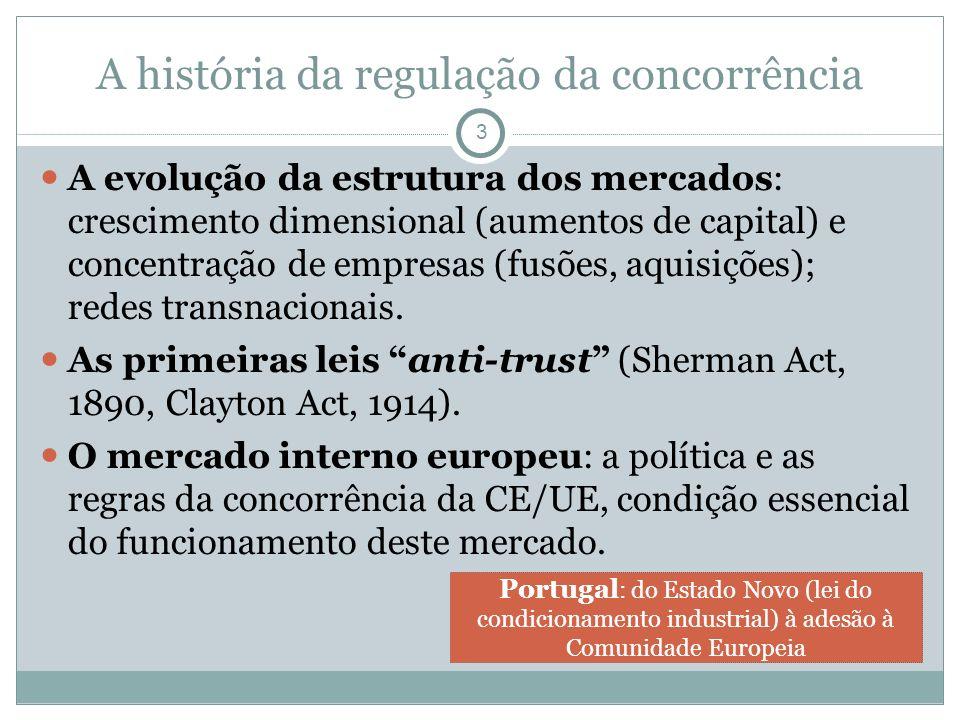 A história da regulação da concorrência A evolução da estrutura dos mercados: crescimento dimensional (aumentos de capital) e concentração de empresas (fusões, aquisições); redes transnacionais.