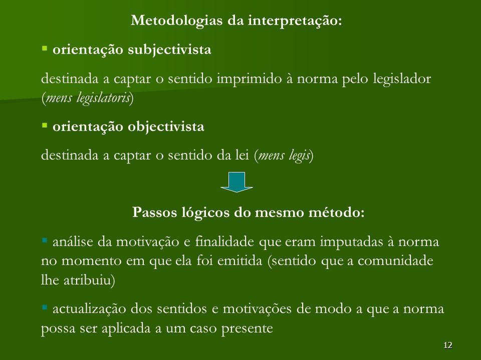 12 Metodologias da interpretação: orientação subjectivista destinada a captar o sentido imprimido à norma pelo legislador (mens legislatoris) orientaç