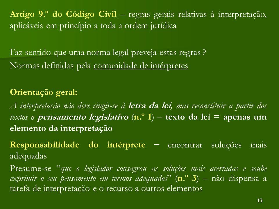 13 Artigo 9.º do Código Civil – regras gerais relativas à interpretação, aplicáveis em princípio a toda a ordem jurídica Faz sentido que uma norma leg