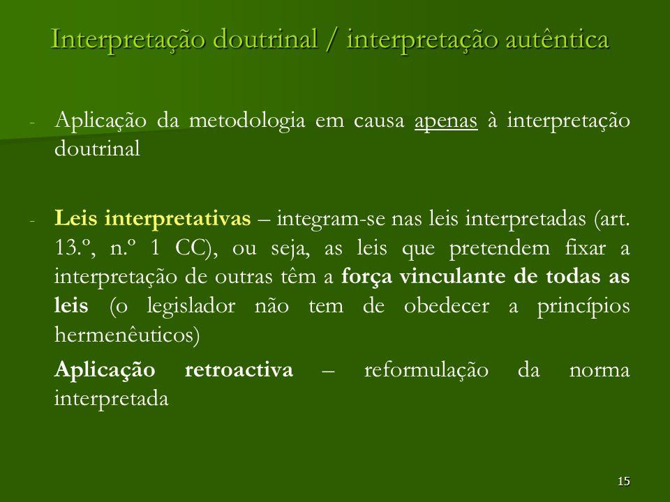 15 Interpretação doutrinal / interpretação autêntica - - Aplicação da metodologia em causa apenas à interpretação doutrinal - - Leis interpretativas –