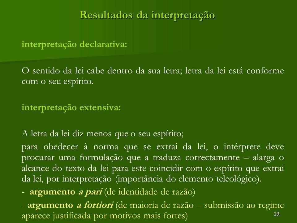 19 Resultados da interpretação interpretação declarativa: O sentido da lei cabe dentro da sua letra; letra da lei está conforme com o seu espírito. in