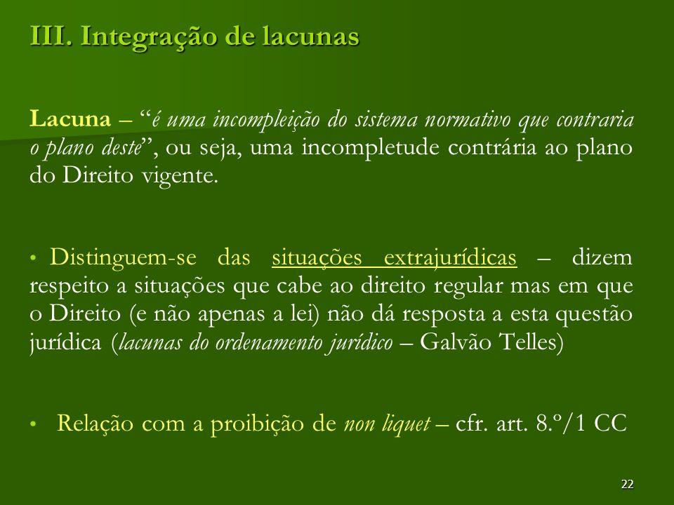 22 III. Integração de lacunas Lacuna – é uma incompleição do sistema normativo que contraria o plano deste, ou seja, uma incompletude contrária ao pla