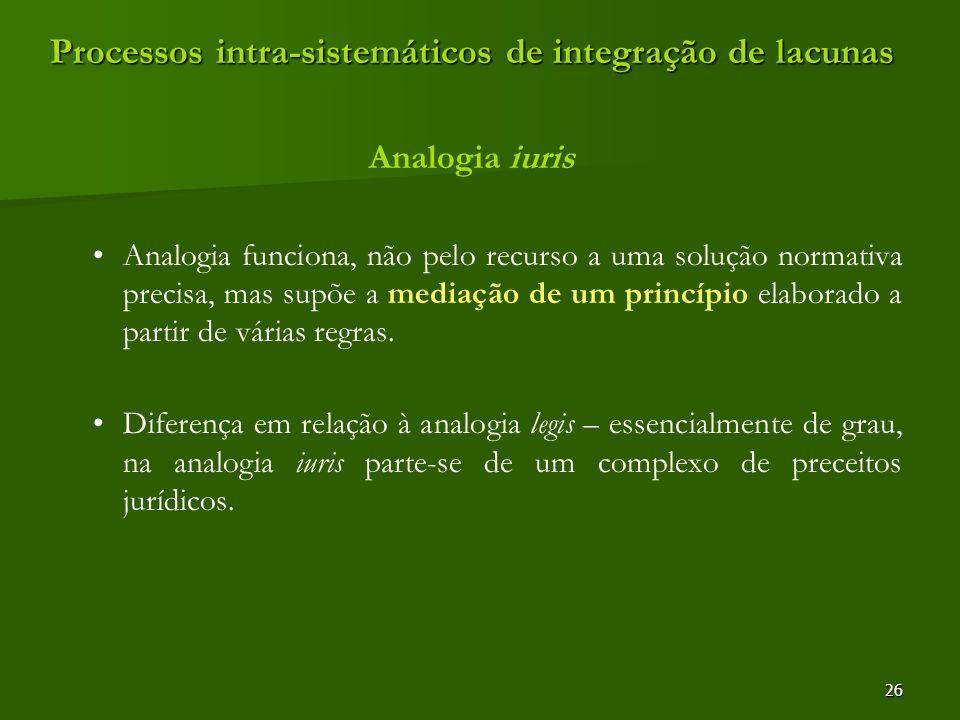26 Processos intra-sistemáticos de integração de lacunas Analogia iuris Analogia funciona, não pelo recurso a uma solução normativa precisa, mas supõe