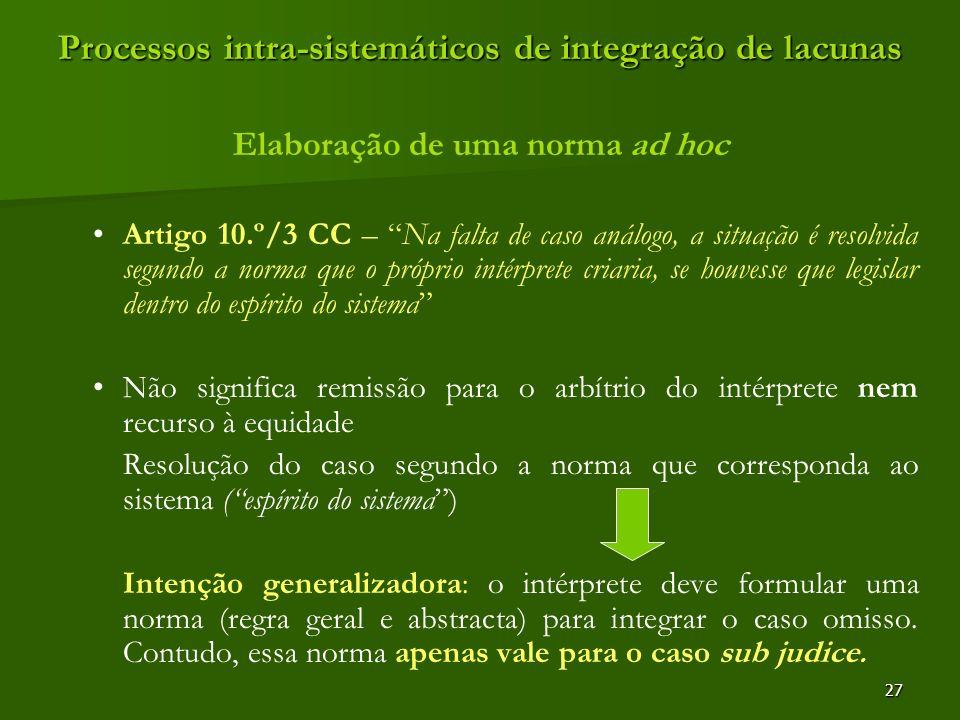 27 Processos intra-sistemáticos de integração de lacunas Elaboração de uma norma ad hoc Artigo 10.º/3 CC – Na falta de caso análogo, a situação é reso