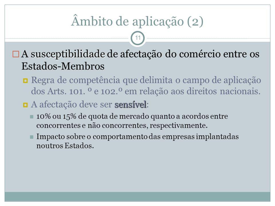 Âmbito de aplicação (2) 11 susceptibilidade A susceptibilidade de afectação do comércio entre os Estados-Membros Regra de competência que delimita o c