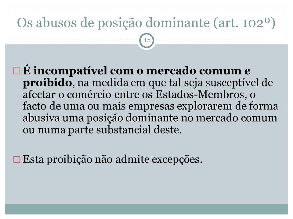 Os abusos de posição dominante (art. 102º) 15 explorarem de forma abusiva posição dominante É incompatível com o mercado comum e proibido, na medida e