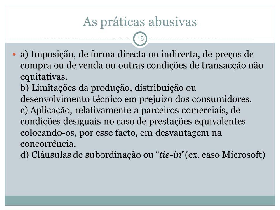As práticas abusivas 18 a) Imposição, de forma directa ou indirecta, de preços de compra ou de venda ou outras condições de transacção não equitativas