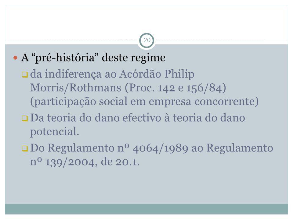 20 A pré-história deste regime da indiferença ao Acórdão Philip Morris/Rothmans (Proc. 142 e 156/84) (participação social em empresa concorrente) Da t