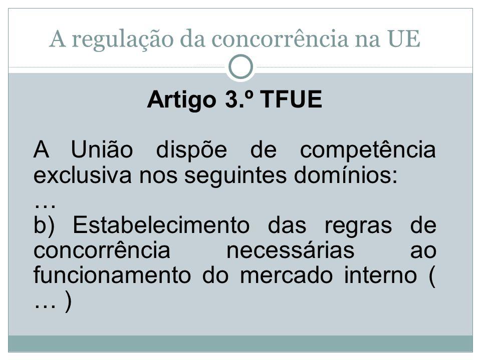 Artigo 3.º TFUE A União dispõe de competência exclusiva nos seguintes domínios: … b) Estabelecimento das regras de concorrência necessárias ao funcion