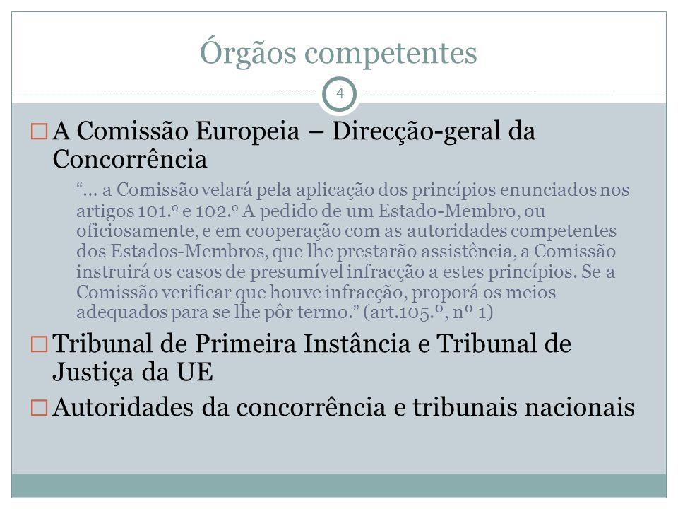 Órgãos competentes 4 A Comissão Europeia – Direcção-geral da Concorrência … a Comissão velará pela aplicação dos princípios enunciados nos artigos 101