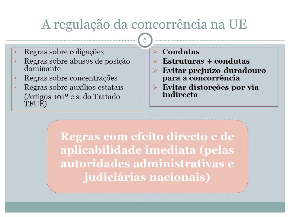 A regulação da concorrência na UE 5 Regras sobre coligações Regras sobre abusos de posição dominante Regras sobre concentrações Regras sobre auxílios