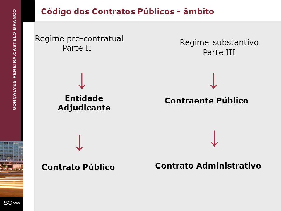 Código dos Contratos Públicos - âmbito Regime pré-contratual Parte II Regime substantivo Parte III Entidade Adjudicante Contraente Público Contrato Ad