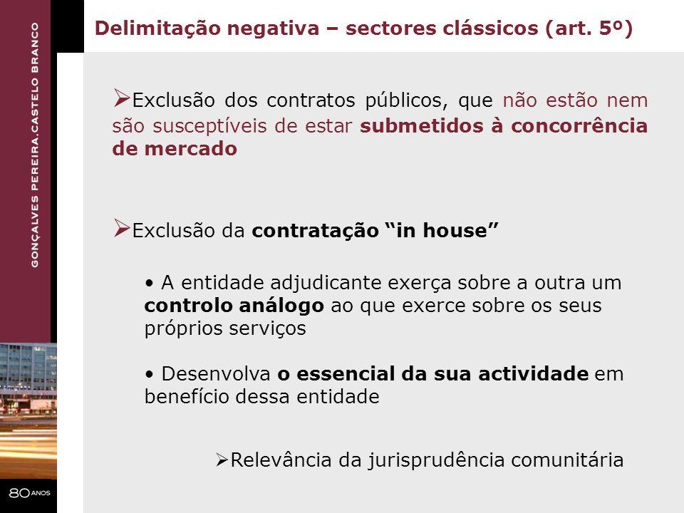 Exclusão dos contratos públicos, que não estão nem são susceptíveis de estar submetidos à concorrência de mercado Exclusão da contratação in house Del