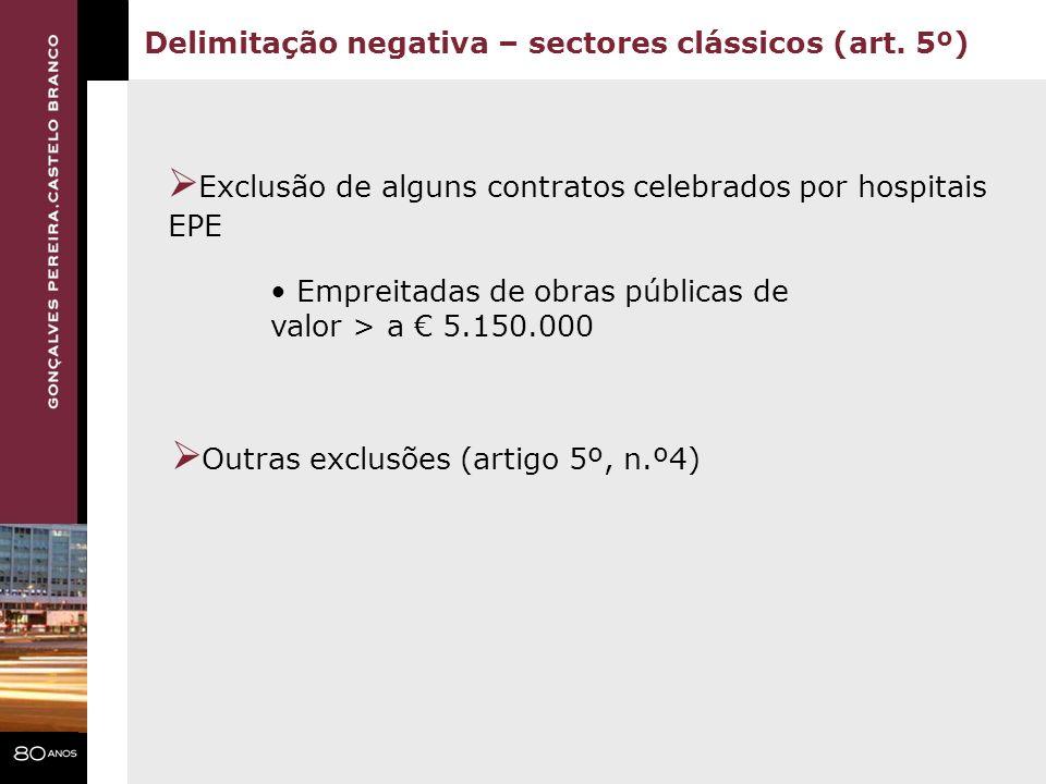 Exclusão de alguns contratos celebrados por hospitais EPE Delimitação negativa – sectores clássicos (art. 5º) Outras exclusões (artigo 5º, n.º4) Empre
