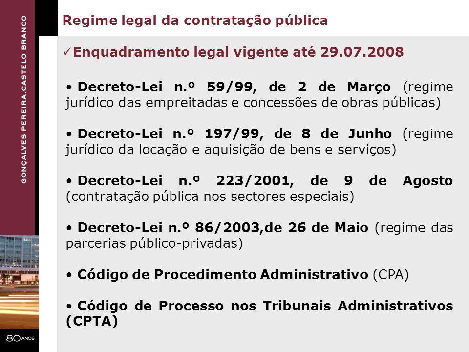 Regime legal da contratação pública Código dos Contratos Públicos Decreto-Lei n.º 86/2003,de 26 de Maio (regime das parcerias público-privadas) Código de Procedimento Administrativo (CPA) Código de Processo nos Tribunais Administrativos (CPTA) Enquadramento legal vigente a partir de 29.07.2008