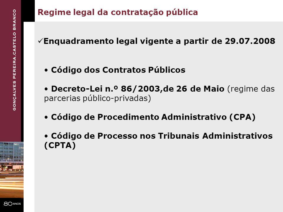 Regime legal da contratação pública Código dos Contratos Públicos Decreto-Lei n.º 86/2003,de 26 de Maio (regime das parcerias público-privadas) Código