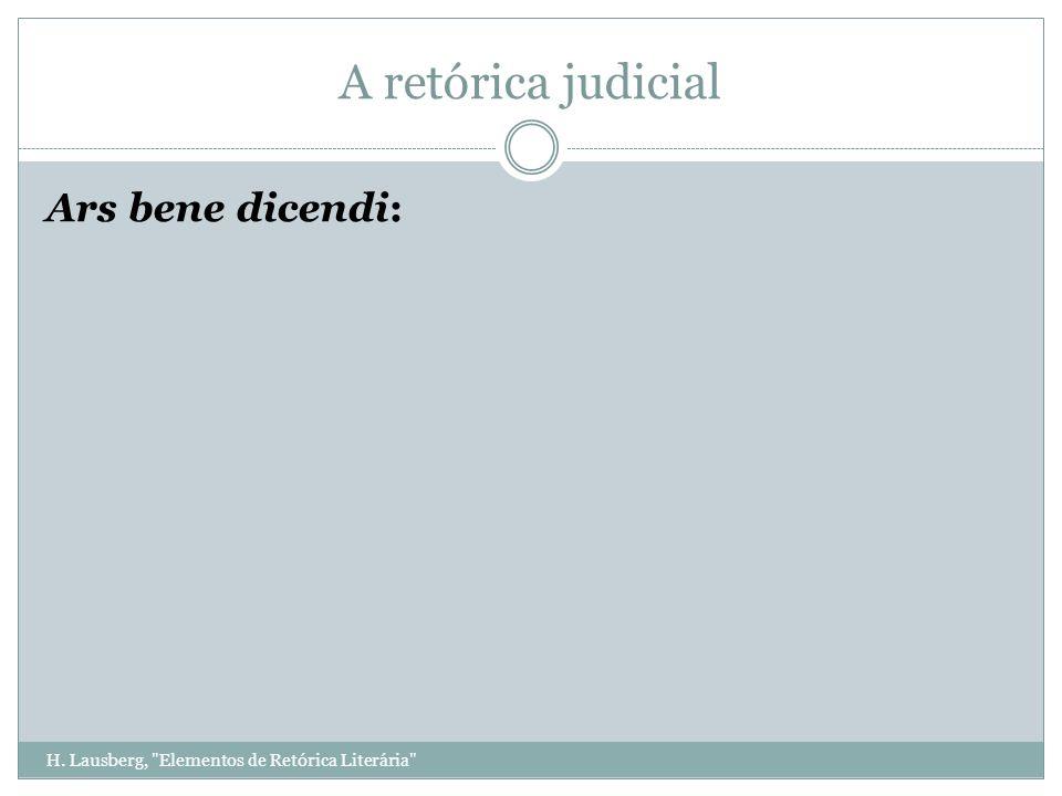 H. Lausberg, Elementos de Retórica Literária A retórica judicial Ars bene dicendi: Bene: