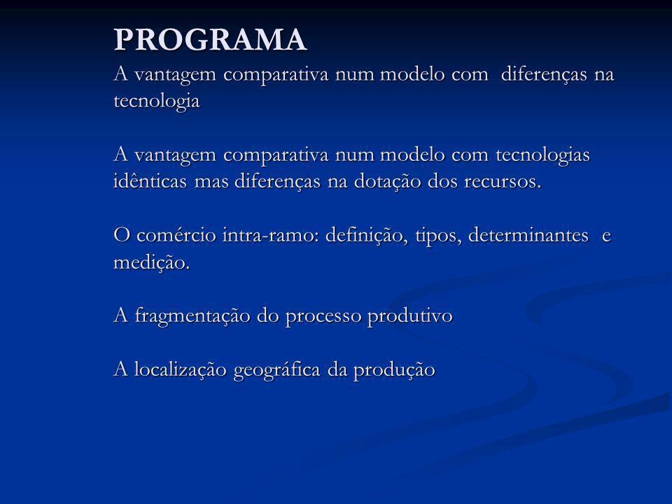 PROGRAMA A vantagem comparativa num modelo com diferenças na tecnologia A vantagem comparativa num modelo com tecnologias idênticas mas diferenças na