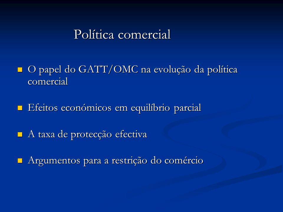 Política comercial Política comercial O papel do GATT/OMC na evolução da política comercial O papel do GATT/OMC na evolução da política comercial Efei