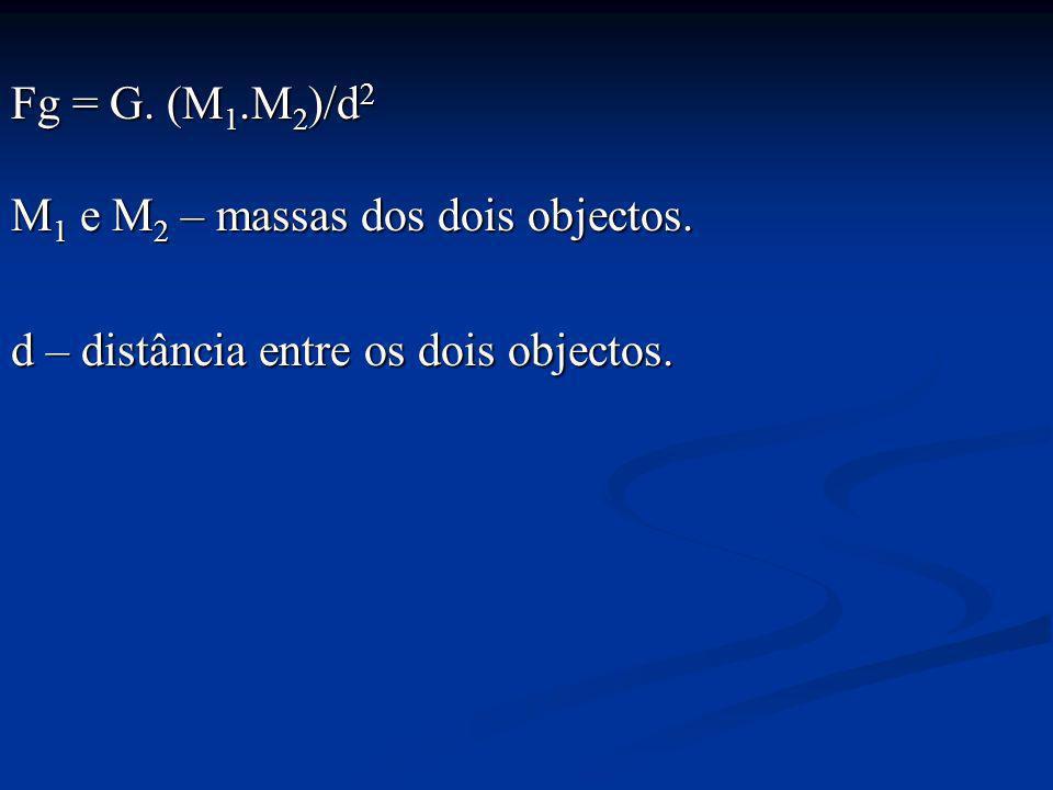 Fg = G. (M 1.M 2 )/d 2 M 1 e M 2 – massas dos dois objectos. d – distância entre os dois objectos.