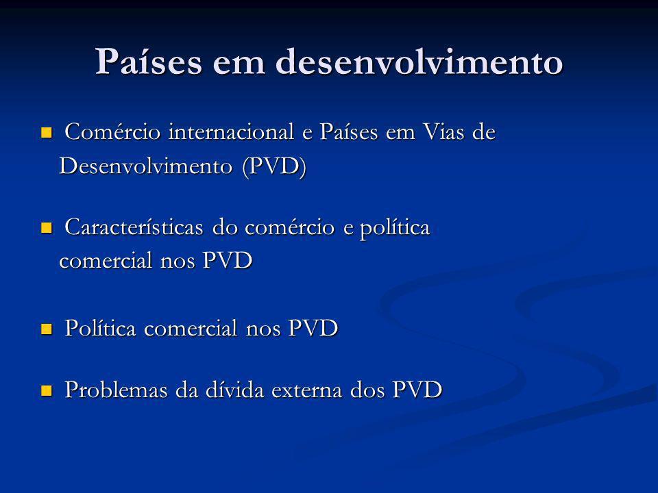 Países em desenvolvimento Comércio internacional e Países em Vias de Comércio internacional e Países em Vias de Desenvolvimento (PVD) Desenvolvimento