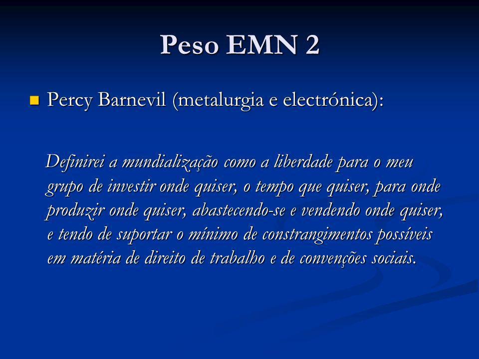 Peso EMN 2 Percy Barnevil (metalurgia e electrónica): Percy Barnevil (metalurgia e electrónica): Definirei a mundialização como a liberdade para o meu