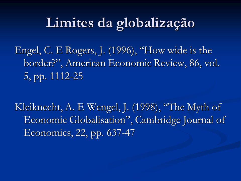 Limites da globalização Engel, C. E Rogers, J. (1996), How wide is the border?, American Economic Review, 86, vol. 5, pp. 1112-25 Kleiknecht, A. E Wen