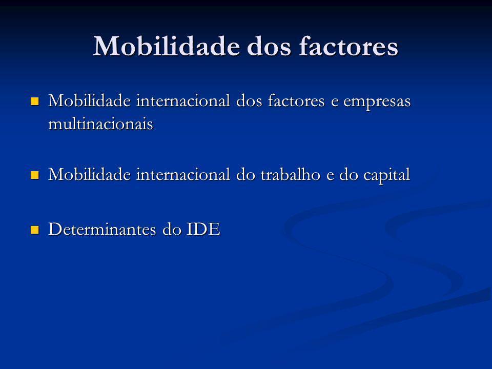 Mobilidade dos factores Mobilidade internacional dos factores e empresas multinacionais Mobilidade internacional dos factores e empresas multinacionai