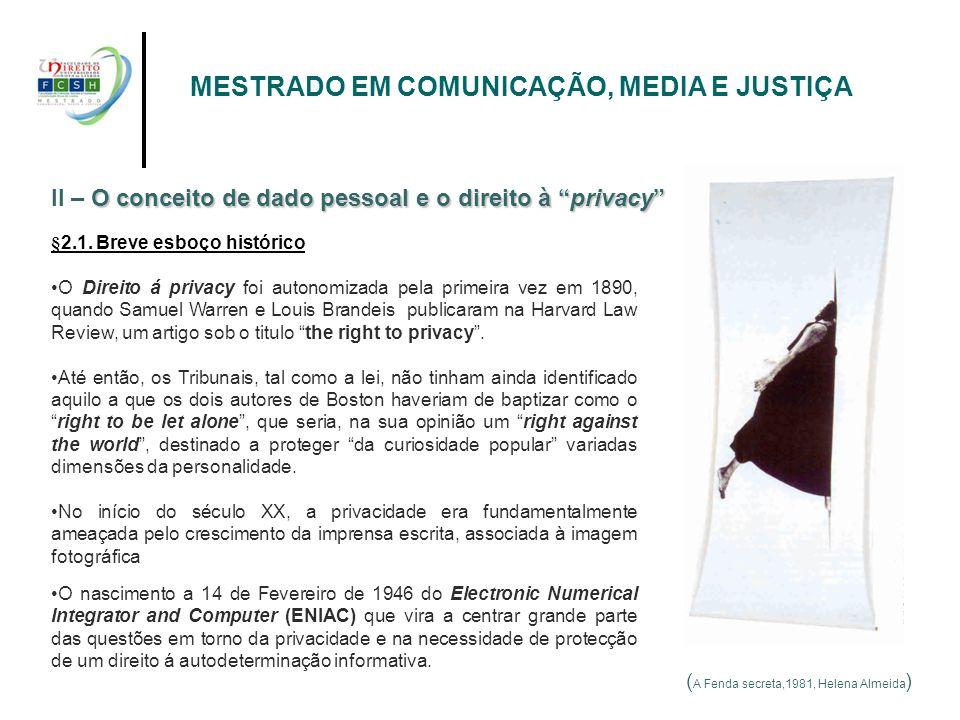 ( A Fenda secreta,1981, Helena Almeida ) II – O OO O conceito de dado pessoal e o direito à privacy §2.1. Breve esboço histórico O Direito á privacy f