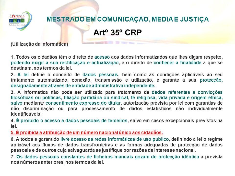 Artº 35º CRP (Utilização da informática) 1. Todos os cidadãos têm o direito de acesso aos dados informatizados que lhes digam respeito, podendo exigir