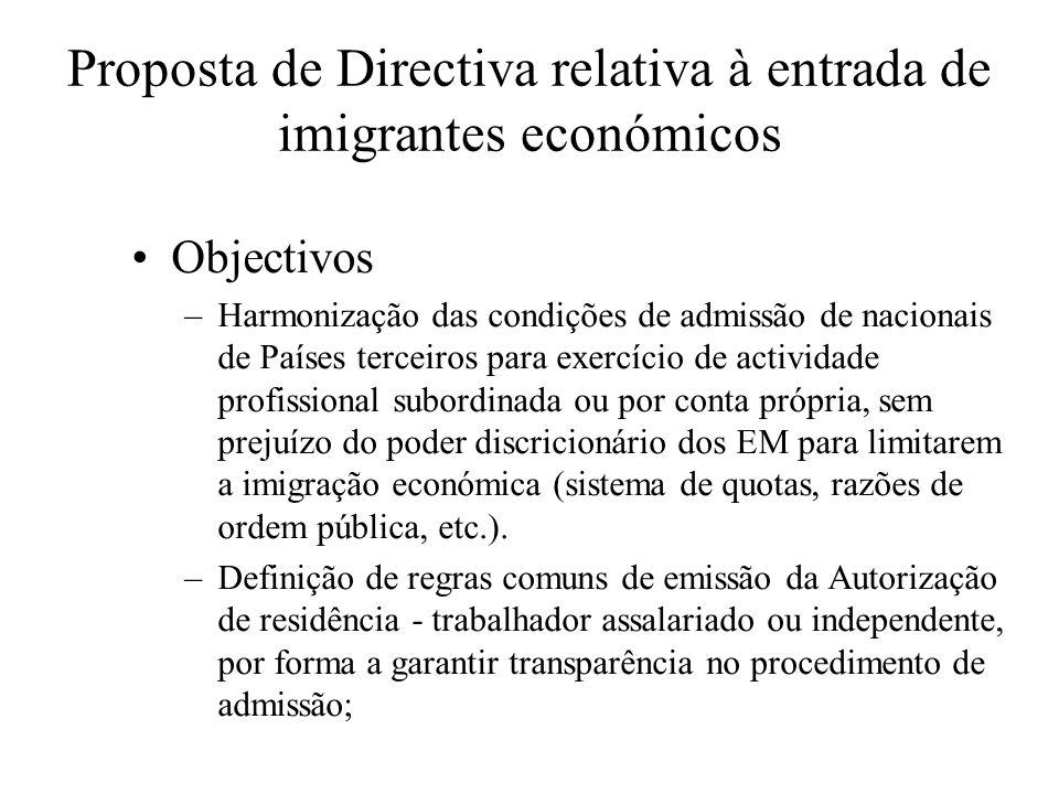 Proposta de Directiva relativa à entrada de imigrantes económicos Objectivos –Harmonização das condições de admissão de nacionais de Países terceiros