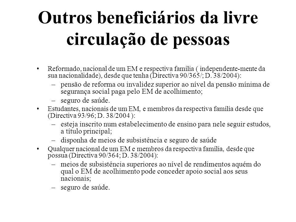Outros beneficiários da livre circulação de pessoas Reformado, nacional de um EM e respectiva família ( independente-mente da sua nacionalidade), desd