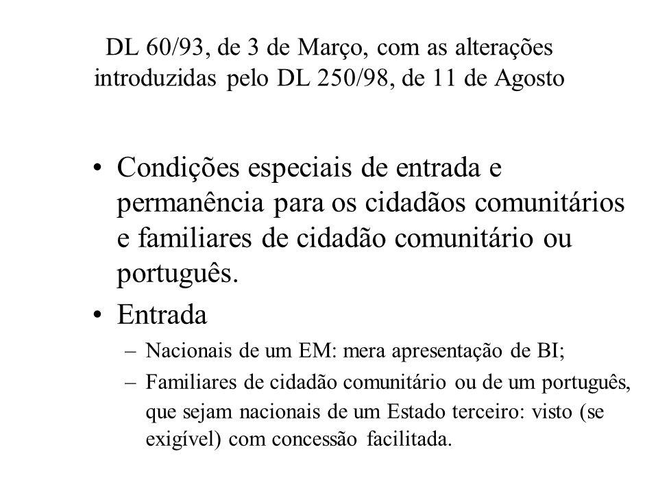 DL 60/93, de 3 de Março, com as alterações introduzidas pelo DL 250/98, de 11 de Agosto Condições especiais de entrada e permanência para os cidadãos