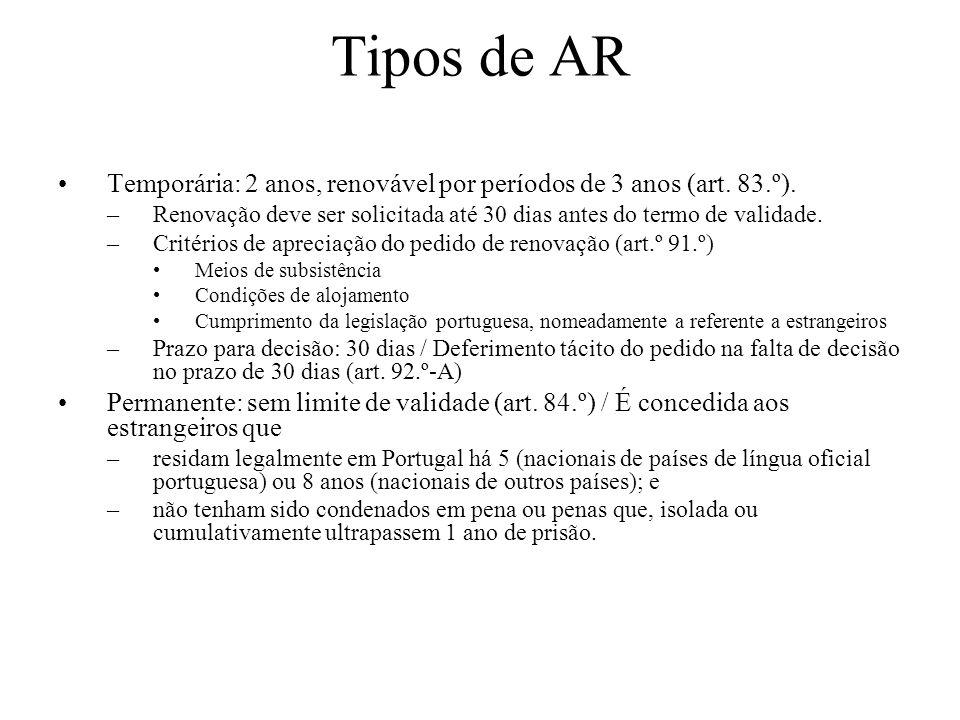 Tipos de AR Temporária: 2 anos, renovável por períodos de 3 anos (art. 83.º). –Renovação deve ser solicitada até 30 dias antes do termo de validade. –