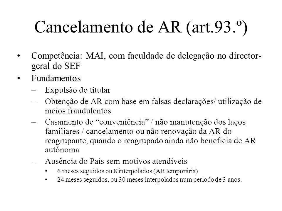 Cancelamento de AR (art.93.º) Competência: MAI, com faculdade de delegação no director- geral do SEF Fundamentos –Expulsão do titular –Obtenção de AR