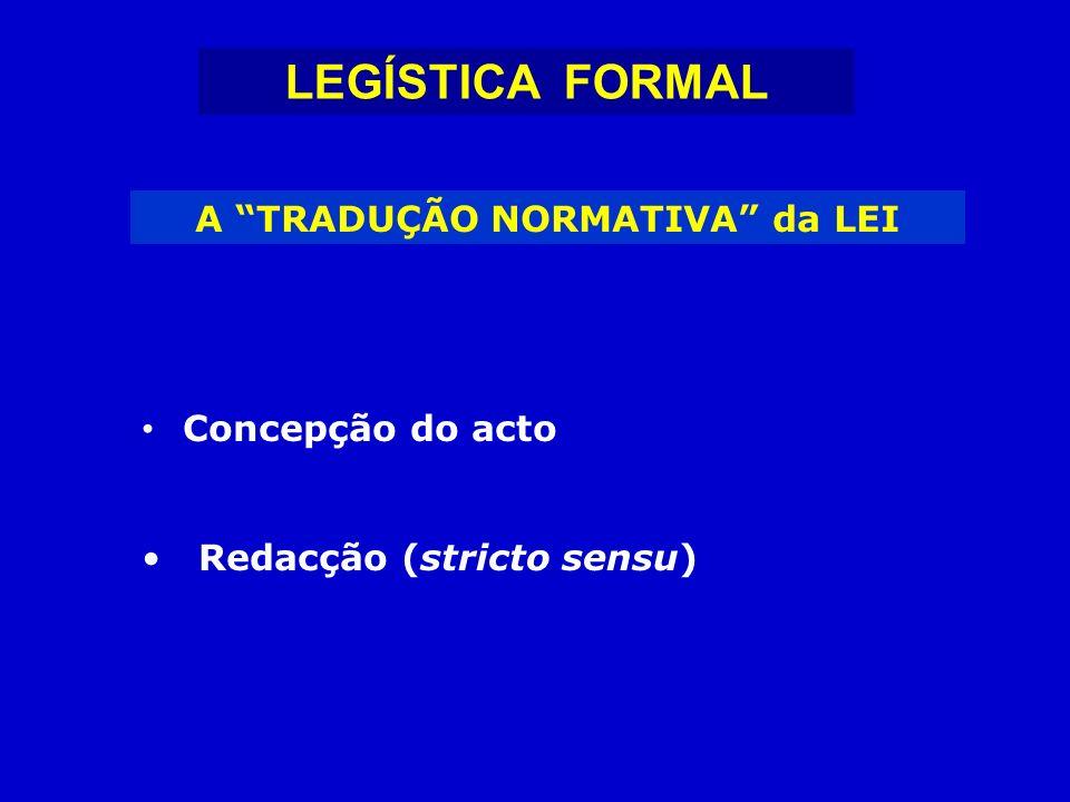 LEGÍSTICA FORMAL FASES da CONCEPÇÃO do ACTO NORMATIVO Determinação da Matéria Normativa Enquadramento Legislativo Escolha do Acto Normativo Definição da Densidade Normativa Fixação da Sistemática Definição do Articulado