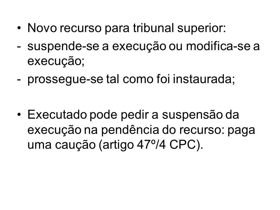 Novo recurso para tribunal superior: -suspende-se a execução ou modifica-se a execução; -prossegue-se tal como foi instaurada; Executado pode pedir a