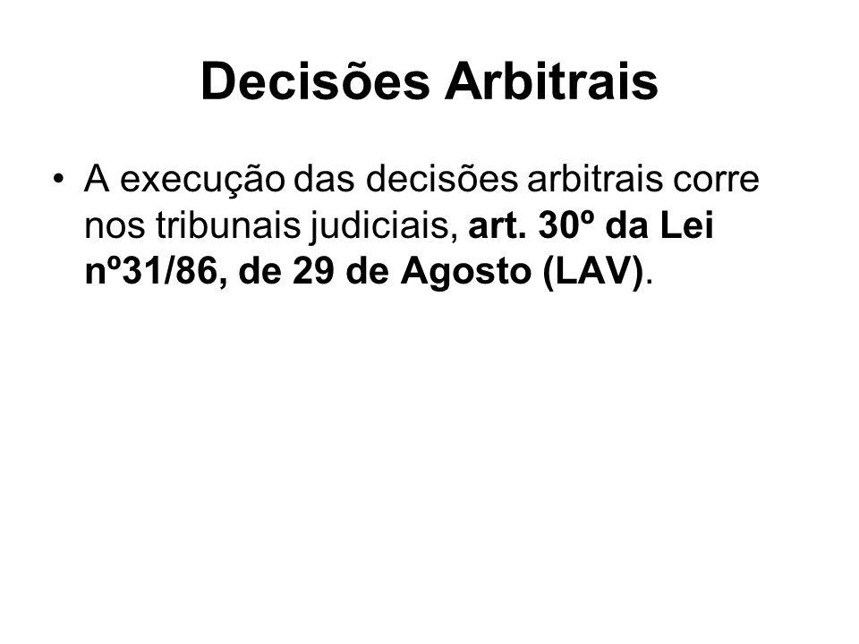 Decisões Arbitrais A execução das decisões arbitrais corre nos tribunais judiciais, art. 30º da Lei nº31/86, de 29 de Agosto (LAV).