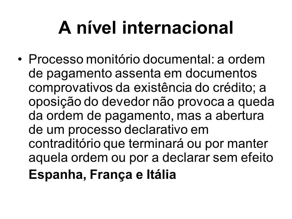A nível internacional Processo monitório documental: a ordem de pagamento assenta em documentos comprovativos da existência do crédito; a oposição do