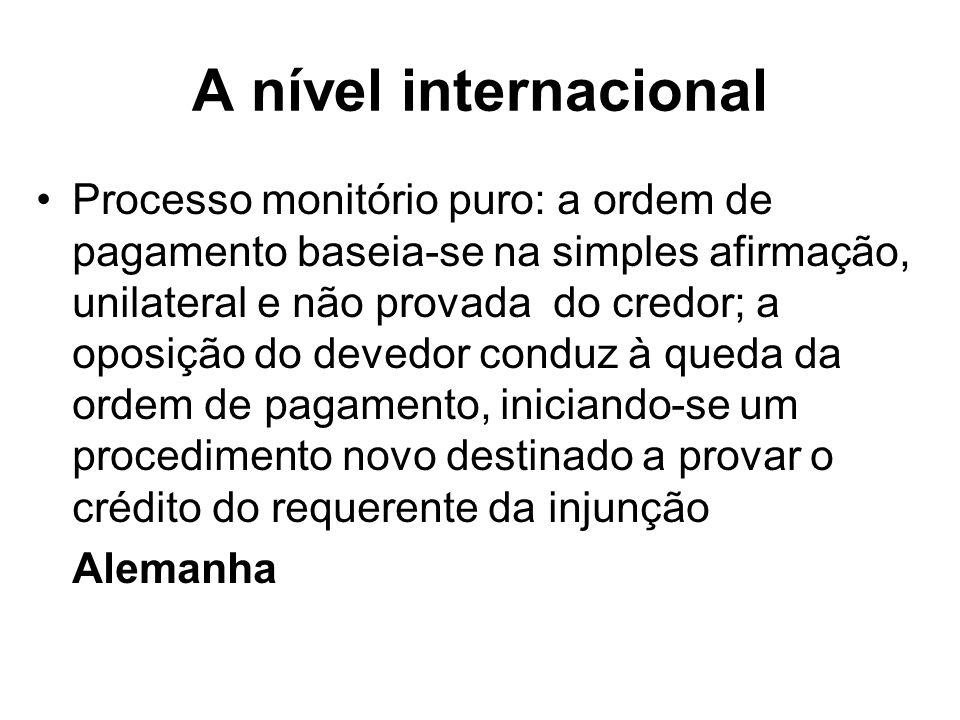 A nível internacional Processo monitório puro: a ordem de pagamento baseia-se na simples afirmação, unilateral e não provada do credor; a oposição do