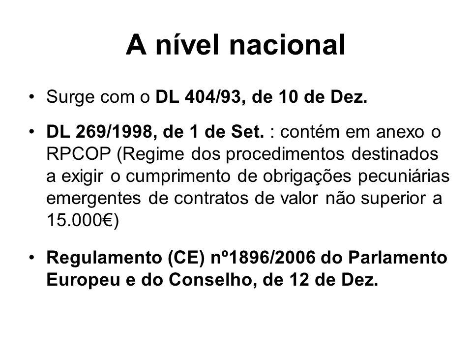 A nível nacional Surge com o DL 404/93, de 10 de Dez. DL 269/1998, de 1 de Set. : contém em anexo o RPCOP (Regime dos procedimentos destinados a exigi