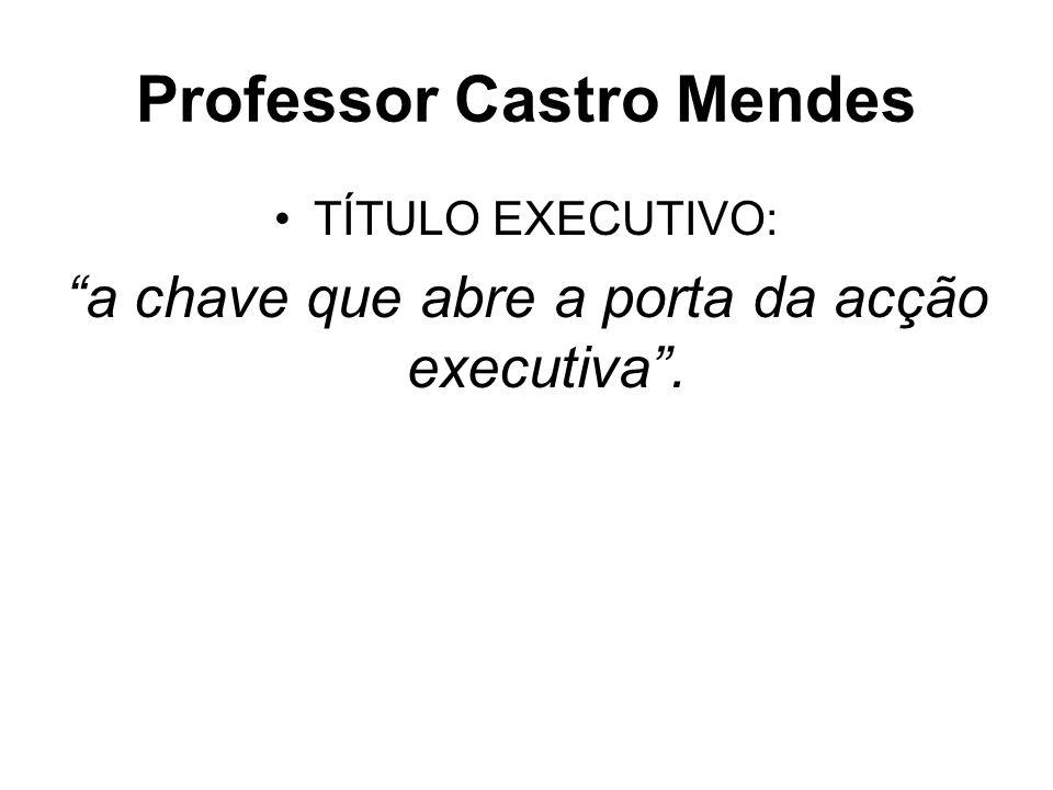 Professor Castro Mendes TÍTULO EXECUTIVO: a chave que abre a porta da acção executiva.