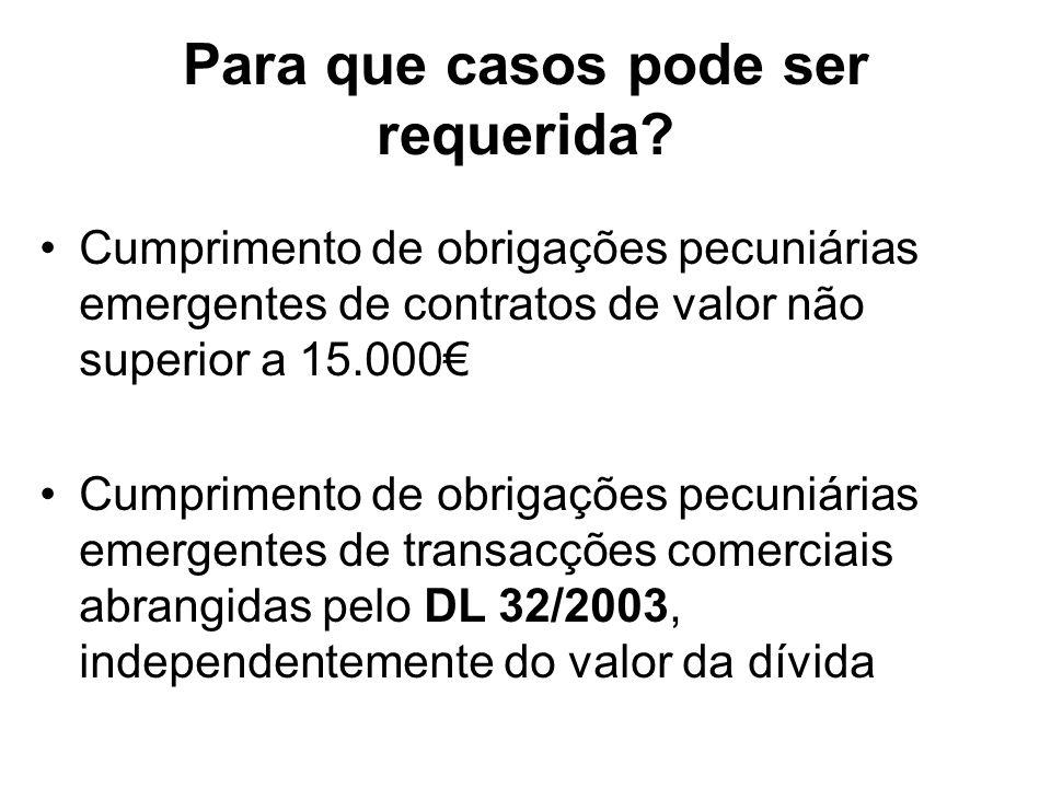 Para que casos pode ser requerida? Cumprimento de obrigações pecuniárias emergentes de contratos de valor não superior a 15.000 Cumprimento de obrigaç