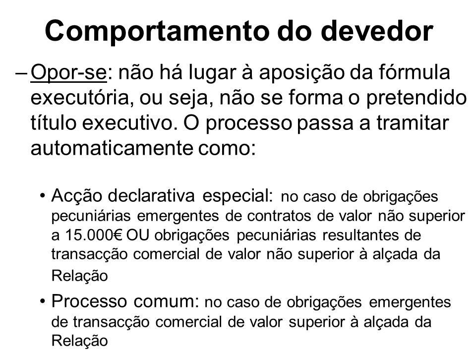 Comportamento do devedor –Opor-se: não há lugar à aposição da fórmula executória, ou seja, não se forma o pretendido título executivo. O processo pass