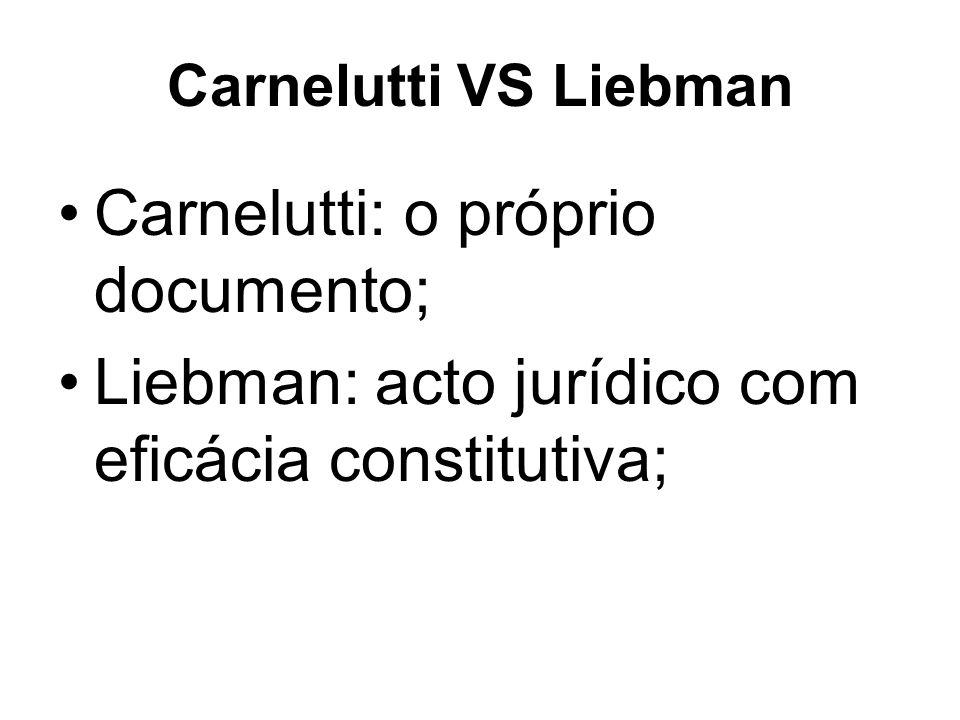 Carnelutti VS Liebman Carnelutti: o próprio documento; Liebman: acto jurídico com eficácia constitutiva;