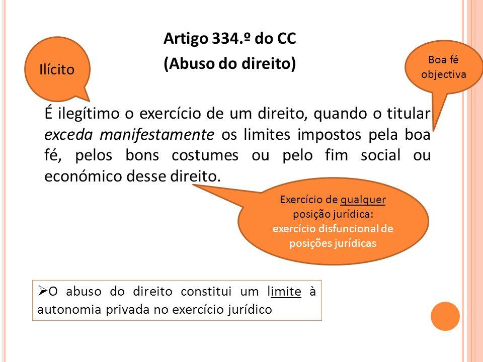 Tipos (sociais) de condutas abusivas: a) Exceptio doli b) Venire contra factum proprium c) Inalegabilidades formais d) Suppressio e surrectio e) Tu quoque f) Desequilíbrio no exercício (residual)