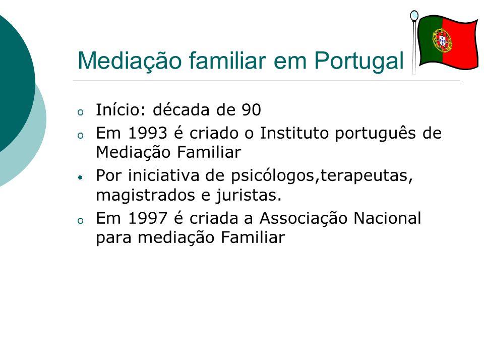 Mediação familiar em Portugal o Início: década de 90 o Em 1993 é criado o Instituto português de Mediação Familiar Por iniciativa de psicólogos,terape
