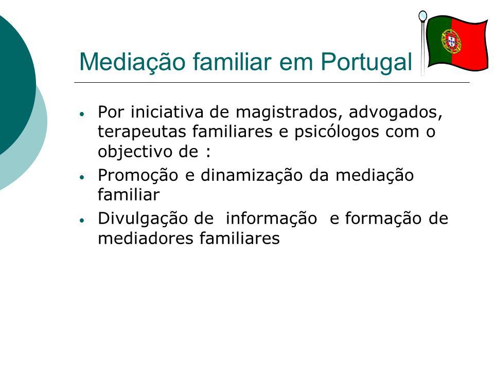 Mediação familiar em Portugal Por iniciativa de magistrados, advogados, terapeutas familiares e psicólogos com o objectivo de : Promoção e dinamização
